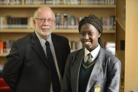 Gary Phillips from Sons of Anzac with St John's Regional College student Hala, 14. 123950 Picture: ROB CAREW