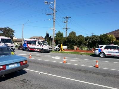 The scene of a crash on Heatherton Road.