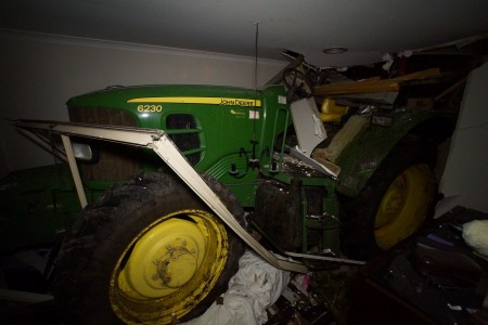 The tractor from inside the Lyndhurst bedroom last night Picture: KEITH PAKENHAM/CFA