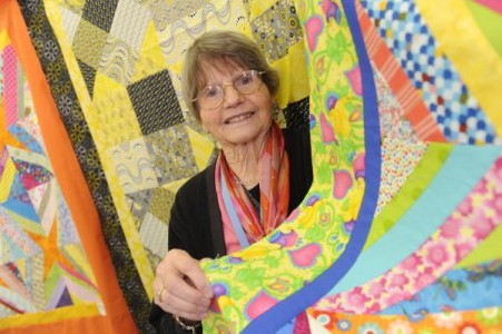 Ruth Denholm with charity quilts made for the Royal Children's Hospital. 126771 Pictures: STEWART CHAMBERS