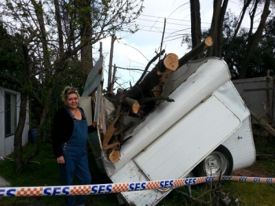 Monika Barany outside her caravan that was flattened by a fallen pine at Shawlands Caravan Park, Dandenong. 128293 Picture: CAM LUCADOU-WELLS