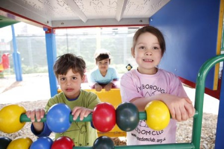 Brayden, 4, Saxon, 2, and Giaan, 4, have fun at Keysborough Freedom Club. 128716 Picture: KIM CARTMELL