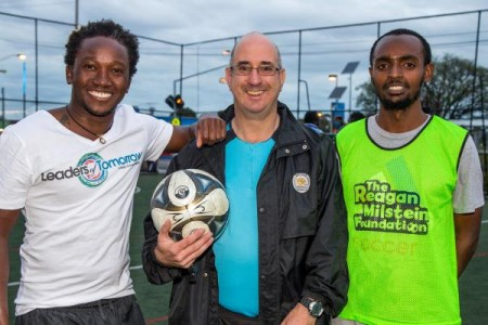 Aaron Mashano, referee Themy Palatsides and winning team captain Awal Kassim. 128745 Picture: GARY SISSONS
