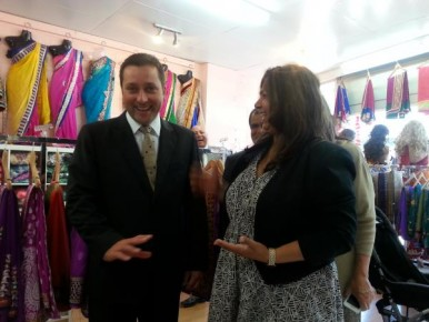 Matthew Guy meets trader Neeta Shah during his Little India visit last week. 131119  Picture: CAM LUCADOU-WELLS