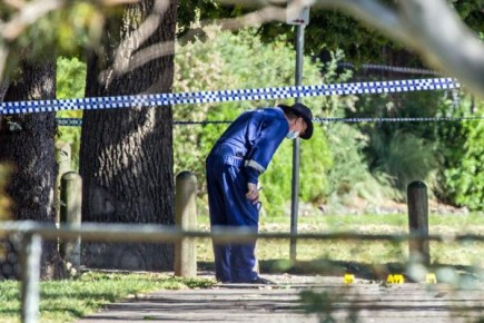 A forensic police officer examines the scene. 131103 Picture: GARY SISSONS