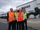 Bombardier Transportation Australian managing director Rene Lalande, Isaacs MP Mark Dreyfus, Opposition Leader Bill Shorten and ALP Bruce candidate Julian Hill.