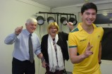 Nick Hum with Emerson School principal John Mooney and campus principal Dianne Wright. 158227 Picture: STEWART CHAMBERS