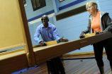 Admasu Akalewold and Margaret Wickham playing swish. 160542 Pictures: STEWART CHAMBERS