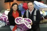 Caron Mangalon presents blankets to Joe Rechichi. 140846 Picture: STEWART CHAMBERS
