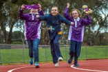Guides Amelia, Grace and Victoria on the Greater Dandenong Relay for Life track. 141242 Picture: GARY SISSONS
