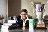 Anirudh with his Great Australian Spelling Bee trophy. 145275 Picture: ROB CAREW
