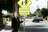 Chandler Park Primary School acting principal Naomi Reed at the school crossing on Chandler Road. 142951