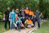 GPT team members with Wallara support coach Baden Johnson and some Wallara Grassbusters.