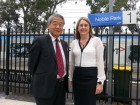 Clarinda MP Hong Lim and State Public Transport Minister Jacinta Allan at Noble Park station on Monday morning. Picture: CAMERON LUCADOU-WELLS