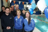 Rotarians and swimming instructors celebrate the swimming program's first birthday: Riley Marshall, Nick Byron, Rotary Club of Dandenong South East president Athol Bailey, Phil Thurgood, John Peck, Leanne Byron, June O'Doherty and Darcie Venables. 156552